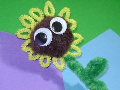 Como hacer un tope de lapiz en forma de flor del sol con limpiapipas
