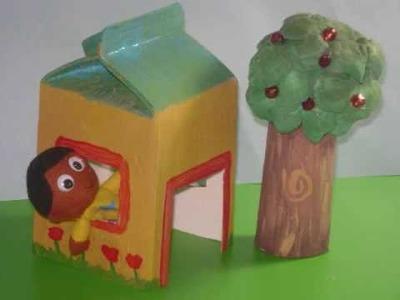 Cómo hacer una bonita casa de juguete un cartón de leche o jugo