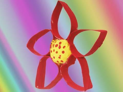 Como hacer una flor con un tubo de papel higienico
