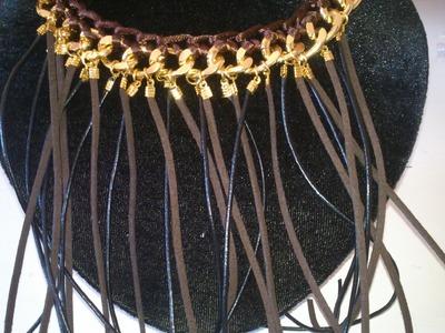 DIY: Collar de cadena y ganchillo, con flecos de cuero