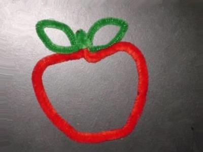 Manualidades de chenilla: Manzana hecha con limpiapipas