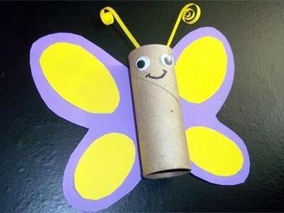 Manualidades de reciclaje: mariposa con tubo de papel de cocina