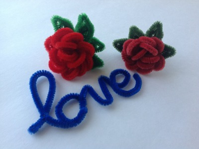ROSAS HECHAS CON LIMPIA PIPAS. PIPE CLEANER  RED ROSES .
