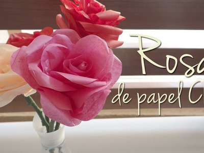 Como hacer rosas con papel china.crepe