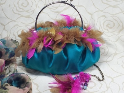 DIY  BOLSO DE FIESTA EN RASO Y PLUMAS, DIY FASHION PARTY SATIN PURSE WITH FEATHERS
