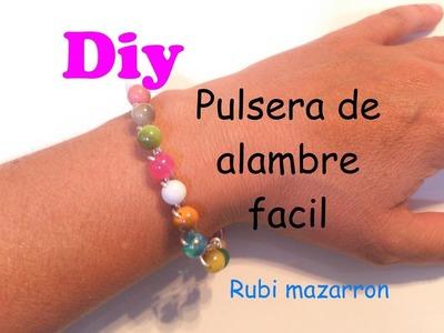 Diy. Pulsera facil de alambre de aluminio con cuentas
