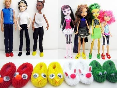 Manualidades para muñecas: Haz pantuflas. zapatillas. zapatos a tus muñecas y muñecos