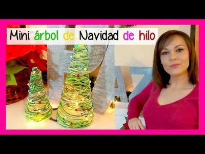 Mini árbol de navidad de hilo, ideas baratas para decorar manualidades navideñas faciles