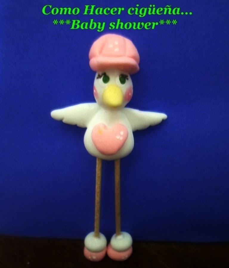 Cigueña Manualidades baby shower recuerdos paso a paso 1 de 2