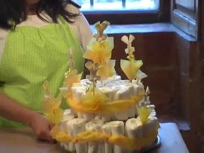 Como hacer un pastel de pañales para el baby shower de conejito
