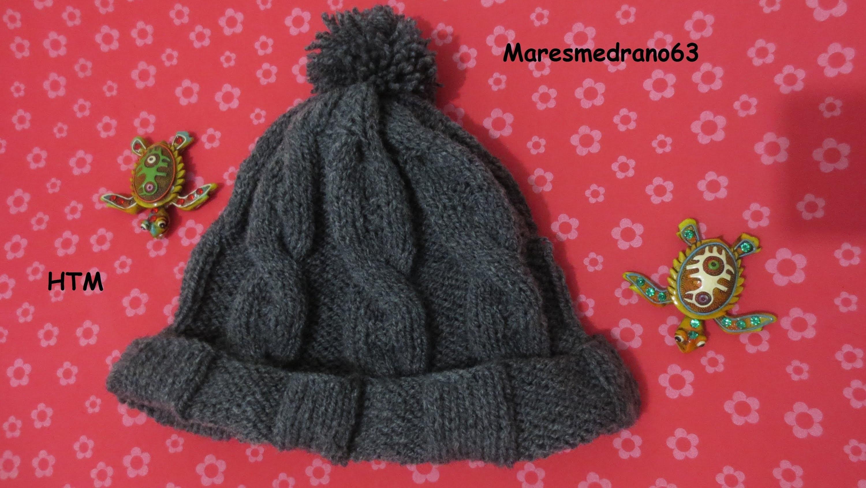 Gorro lana tejido con agujas circular  1