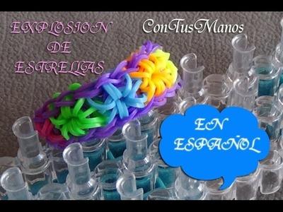 PULSERA DE GOMITAS EXPLOSION DE ESTRELLAS CON TELAR RAINBOW LOOM (EN ESPAÑOL) STARBURST BRACELET