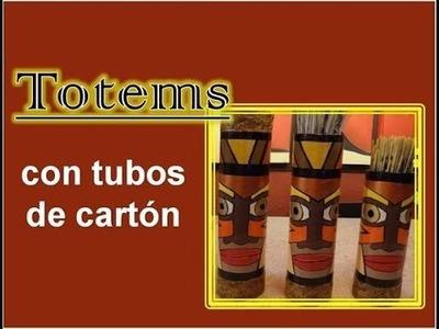 Totems con tubos de cartón