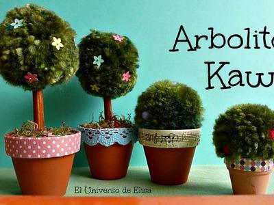 Arbolito y Arbusto Kawaii, Manualidades con Pompones, Manualidades Kawaii