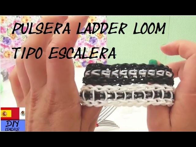 PULSERA DE GOMITA ESCALERA - RAINBOW LOOM LADDER BRACELET - TUTORIAL EN ESPAÑOL - DIY