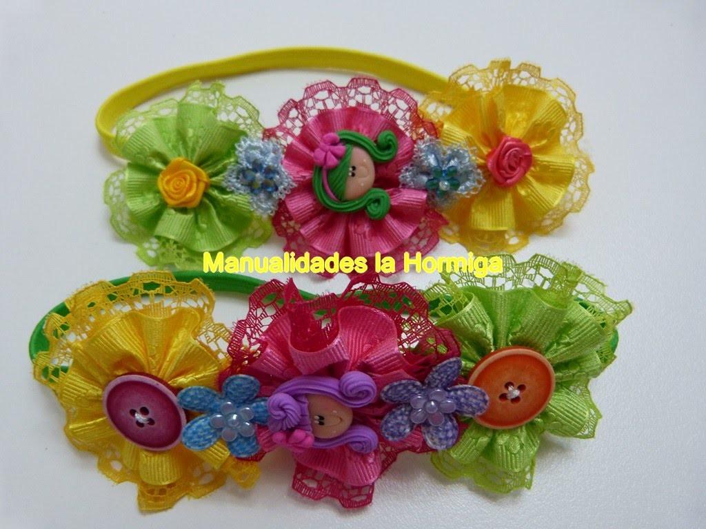 Rosetones en cinta gros  y encaje para decorar balacas para el cabello. Hair  flowers