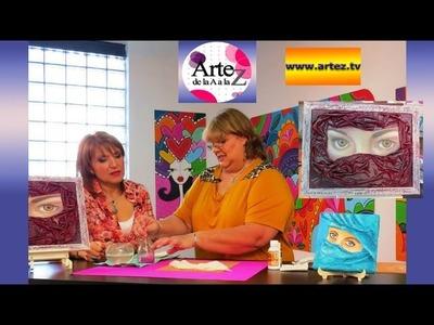 Cómo crear un cuadro con lápices de colores y tela