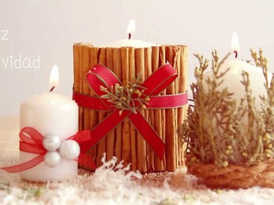 Cómo decorar una vela con canela en rama para Navidad