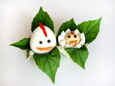 """Cómo hacer huevos duros """"gallina y pollito"""" para Pascua"""