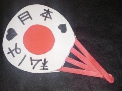 Como hacer un abanico Japones (usando el tema de la bandera Japonesa)