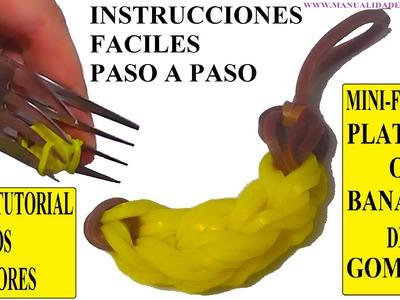 COMO HACER UN PLATANO DE GOMITAS (MINI-FIGURA) CON DOS TENEDORES. BANANA CHARM TUTORIAL DIY.