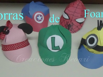 Gorra de Foamy con Moldes de Mario y Luigi Bros,Minions,Superheores Hombre araña