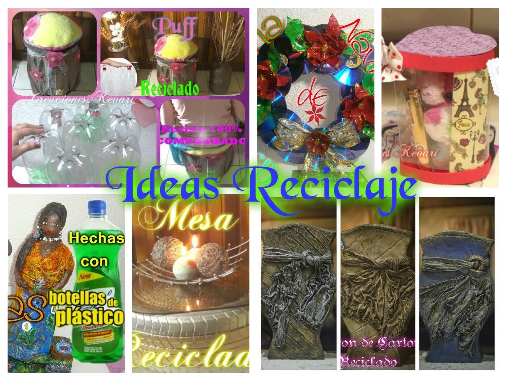 Ideas Reciclaje  Carton, Neumaticos,Botellas de plasticos pet,CD, Botellas de Vidrio,Papel Periodico