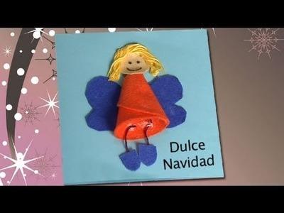 Postal navideña con un ángel de fieltro, manualidades para niños