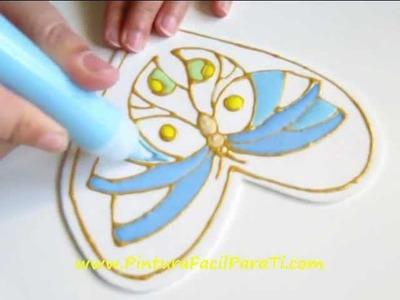 2 Corazon Mariposa San Valentin Falso Vitral 14 de Febrero Dia de los Enamorados Pintura Facil