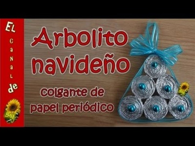 Arbolito navideño colgante de papel periódico - Hanging Christmas tree newspaper