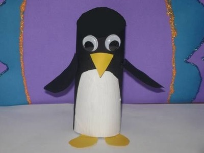 Como hacer un pinguino con tubo de papel higienico (Cara Negra)