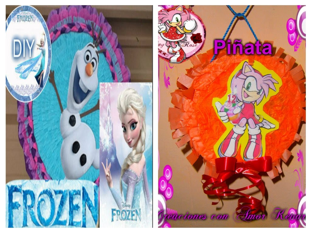 Como hacer una Piñata Tambor fácil.Frozen♥ How to Make a Pinata.(Amy Rose-Sonic)