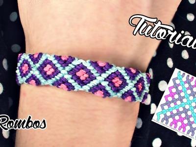 Como hacer una pulsera de hilo encerado de ♦rombos♦ + Patron