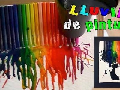 Cuadro con ceras o crayolas derretidas: ¡lluvia de pintura!