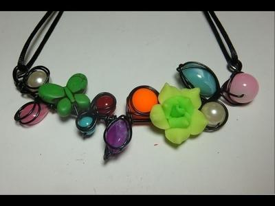 DIY Collar de alambre y abalorios, Alambrismo
