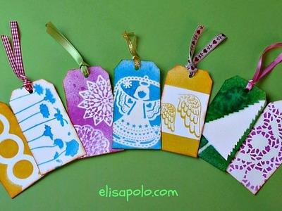 DIY, Cómo hacer Etiquetas para Regalo, Stencil Gift Tags, Como hacer Tags