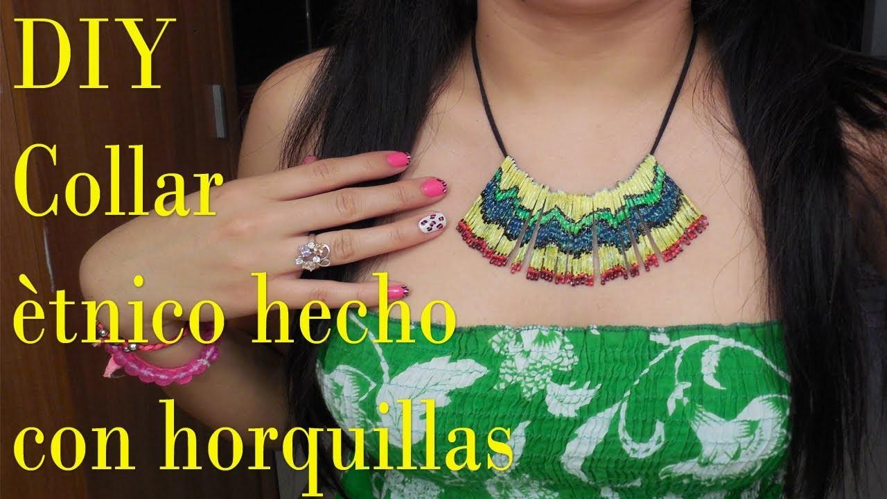 DIY Como hacer un collar ètnico con horquillas!!