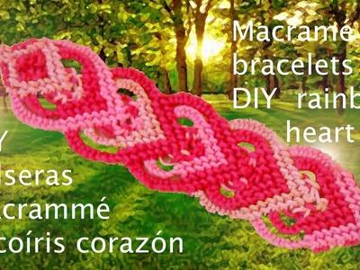 DIY pulseras macramé corazón arcoíris - Macramé bracelets DIY rainbow heart