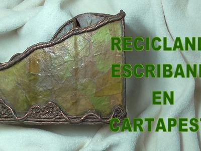 DIY RECICLANDO ESCRIBANIA EN CARTAPESTA