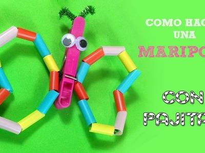 Manualidades para niños con pajitas | Mariposa de pajitas