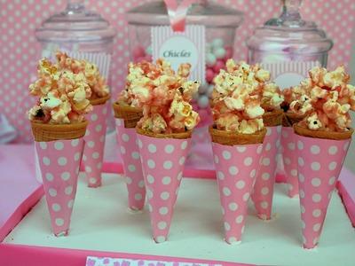 Palomitas con caramelo rosa. Cotufas con caramelo