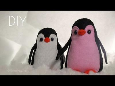 Pinguino de Fieltro.Peluche Con Moldes
