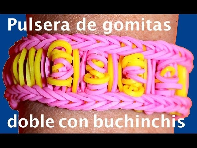 Pulsera  con ligas dobles. Rainbow loom bracelet