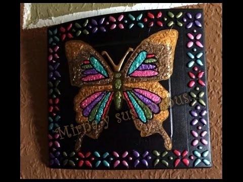Reciclando un reloj a cuadro de mariposa. Recycling a clock Butterfly painting