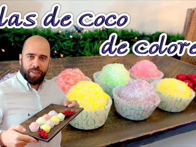 Bolas de Coco navideñas. Postres fáciles, recetas Navidad, postres navideños, trufas de coco