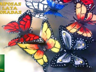 Como decorar mariposas de lata aluminio♥♥