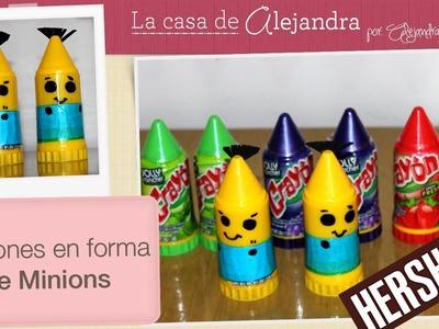 """Dulces de Minions con """"Crayones"""" - DIY """"Crayon"""" candy Minions"""