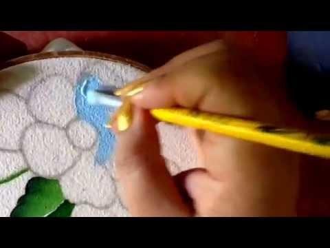 Pintura en tela flor azul para bolsa con Cony