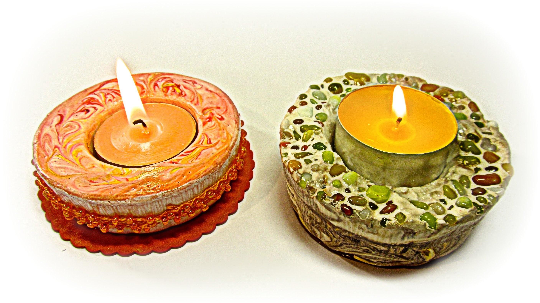 Cómo hacer porta velas de yeso. Plaster candle holders.