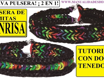 COMO HACER PULSERA DE GOMITAS SONRISA CON DOS TENEDORES, SIN TELAR. SMILE BRACELET